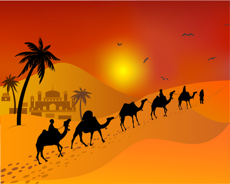 Caravan of camels going through the desert. east Muslim landscape. Illustration