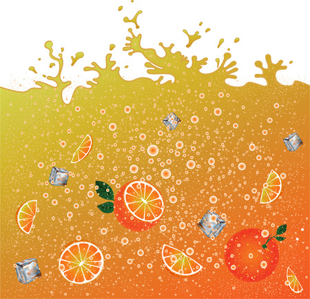 hiss: Carbonated orange drink  background. Advertising . Ice and oranges. Juice. Orange citrus cocktail. Splashes. Illustration
