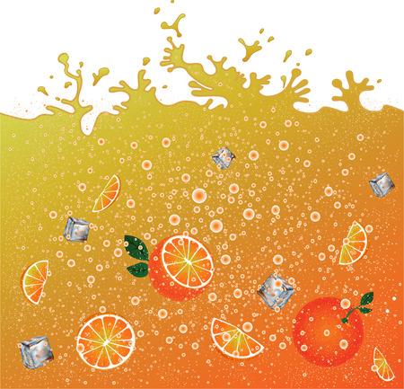Carbonated orange drink  background. Advertising . Ice and oranges. Juice. Orange citrus cocktail. Splashes. 向量圖像