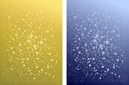 Due sfondi di acqua frizzante e champagne. diverse bevande gassate blu giallo Vettoriali
