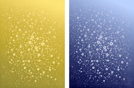 Two backgrounds sparkling water and champagne. different carbonated drinks .yellow blue