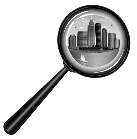 office buildings: City under surveillance. Kind of a magnifying glass. Illustration