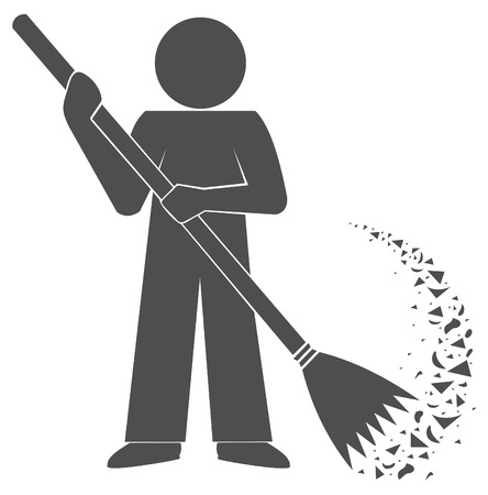 janitor: Janitor cleans garbage. symbol. Sweep broom. sign gray silhouette .