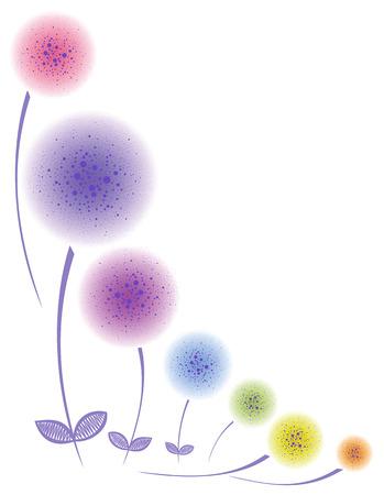 floral corner: Floral corner Colorful stylized dandelions. Fluffy balls. Illustration