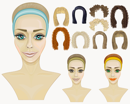 red haired girl: Faces of three girls.make-up hairstyles.game different hair.