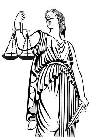 estatua de la justicia: diosa griega Themis. Ley de Justicia igualdad. Un juicio justo.