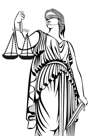 Greek goddess Themis . Equality justice Law . A fair trial. Çizim