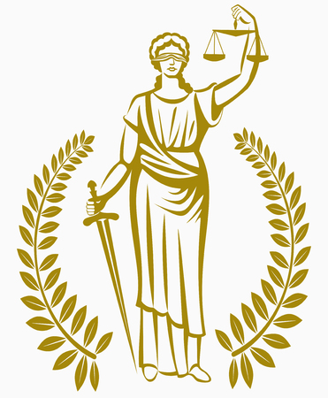 justice scales: Greek goddess Themis . Equality justice Law . A fair trial. Laurel wreath . Illustration