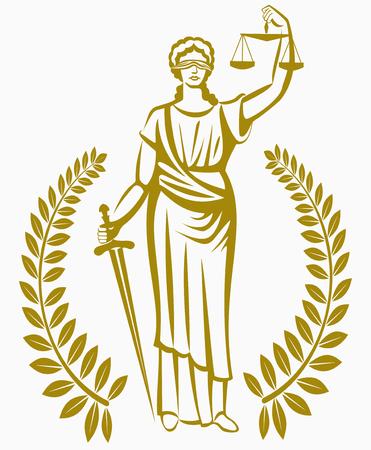 gerechtigkeit: Griechische Göttin Themis. Gleichheit, Gerechtigkeit, Gesetz. Ein faires Verfahren. Lorbeerkranz . Illustration