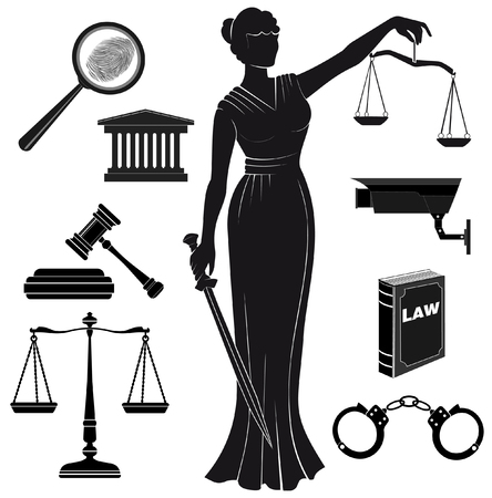 justice balance: court.Set of icons on a theme the judicial.law.Themis goddess of justice.