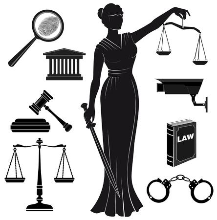 court.Set von Symbolen auf einem Thema der judicial.law.Themis Göttin der Gerechtigkeit.