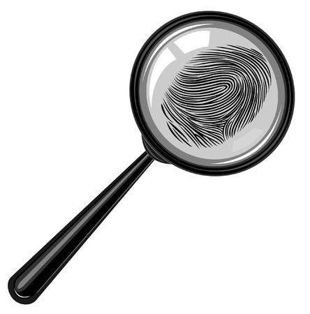 detective: fingerprint detective . magnifying glass.evidence of a crime.