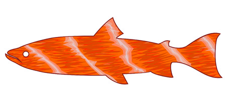 seafish: silhouette of fish salmon. Red meat.sign emblem symbol