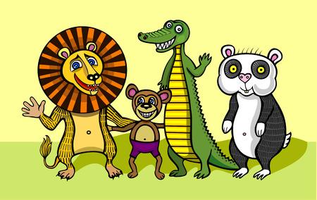 pleasure: animals friends company. bear crocodile greeting hamster laughter lion monkey .pleasure  smile.