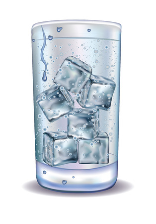 aeration: Glass of water. Ice cubes.carbonated aeration.