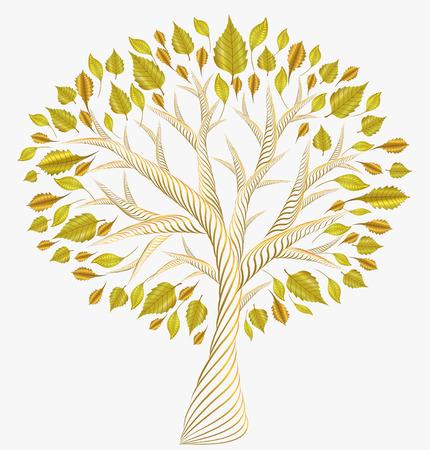dreamlike: golden metallic leaves.nature beautiful Autumn tree . jewelry Illustration