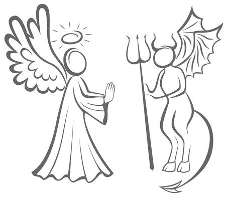 Ángel y demonio. Bien contra el mal. la toma de decisiones Ilustración de vector