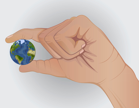 enviroment: concept. Earth in hand. Keep fingers. enviroment protection .fragile small. nature.