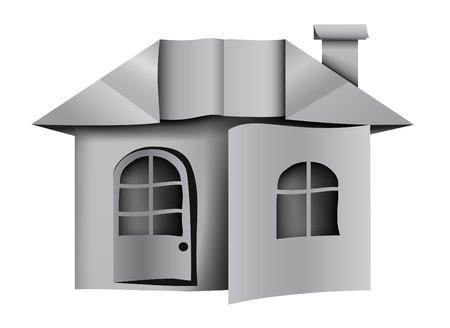 prefab: Architecture symbol . Origami Paper house . white gray colour Illustration