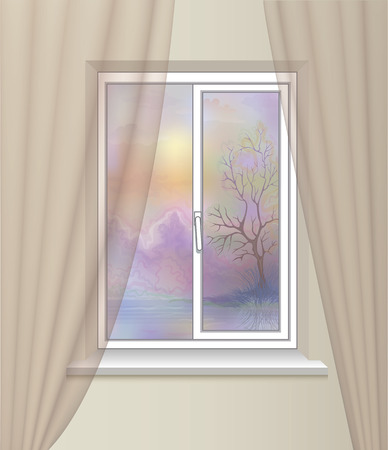 cosiness: beautiful view from  window . nature landscape . cosiness  comfort interior. Stock Photo