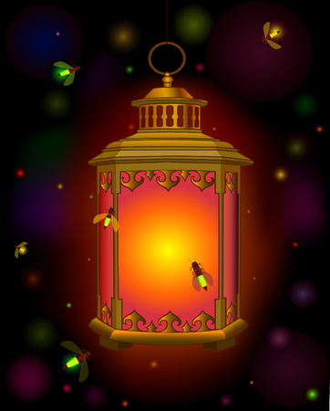 self contained: old lantern suspended. Orange light in  dark. Ramadan. beetles fireflies. Illustration