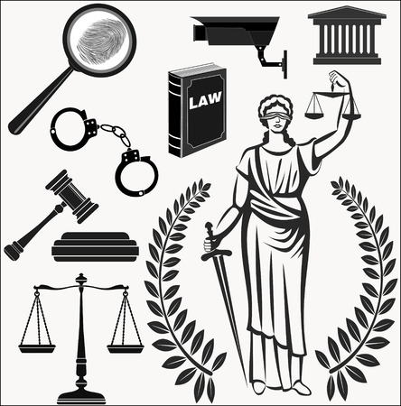 femida: court.Set of icons on a theme the judicial.law.Themis goddess of justice.