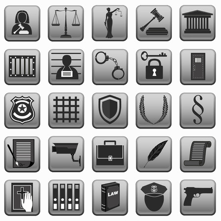 lady justice: theme law . different sign . icons on button . police scales gavel judge handcuffs prison .lady justice . Grey black.