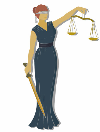 judiciary: lady justic . Greek goddess Themis . Equality   fair trial  Law . flat style.mythology