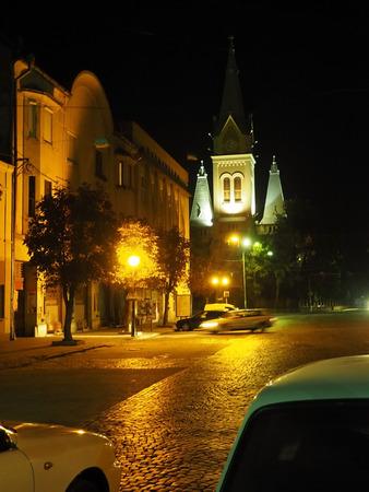 city street at night temple