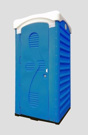 toilet blue public bio on white background