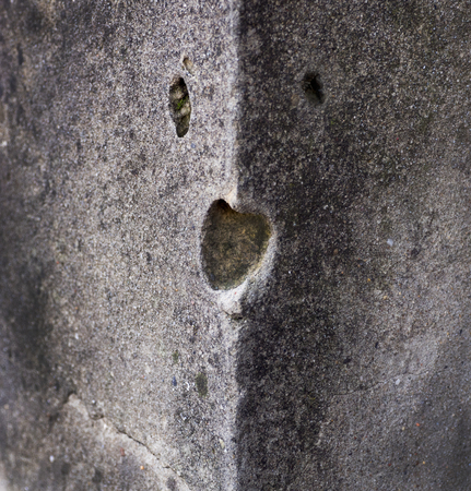 a hollow in a stone wall resembling a beast