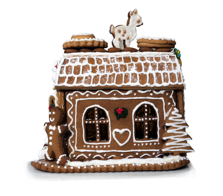 house made of cookies on white background