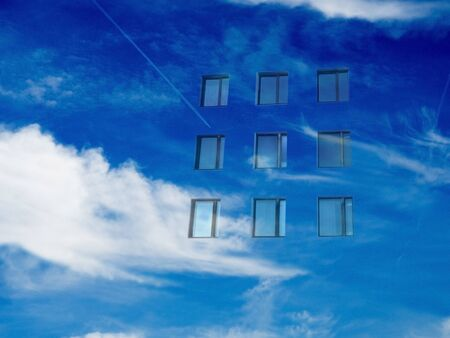 windows in the blue sky