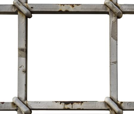 grille frame on a white wall background Reklamní fotografie