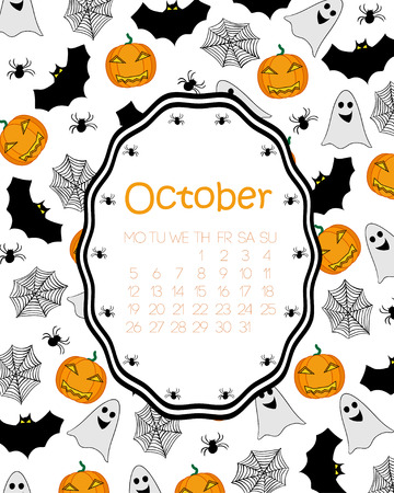 cobwebs: Colorful calendar for October, with orange pumpkins, ghosts, bats, cobwebs and spiders.