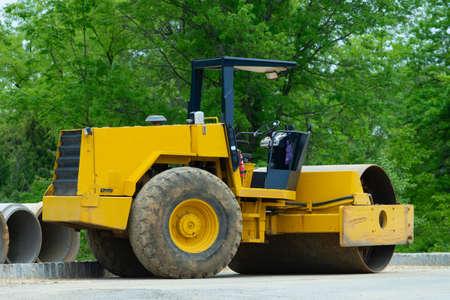 Road construction asphalt rolling machine street heavy Stockfoto