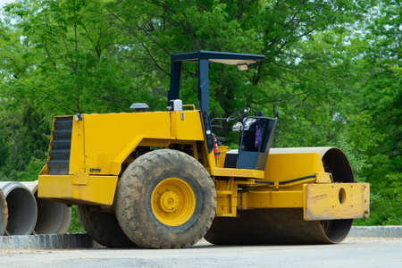 Road construction asphalt rolling machine street heavy Imagens