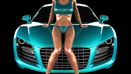 car and sexy woman in studio Stock Photo - 10617522