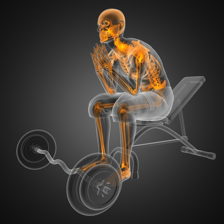 strong skeleton: human radiography scan in gym room Stock Photo