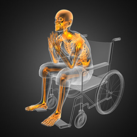 Man in wheelchair made in 3D Stock Photo - 12265206
