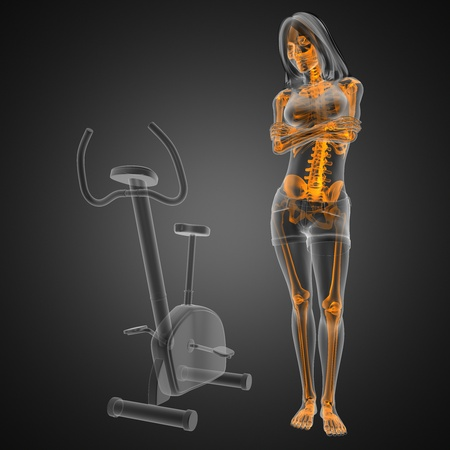 woman  radiography scan in gym room made in 3D photo