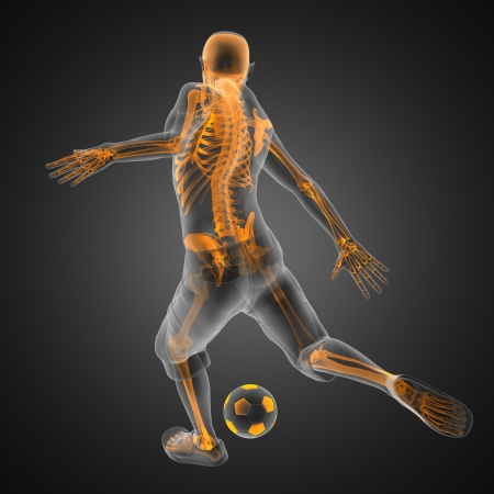 soccer kick: soccer game player made in 3D Stock Photo