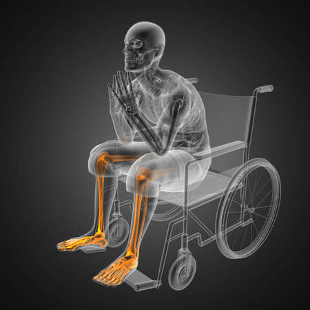 Man in wheelchair made in 3D Stock Photo - 12601793