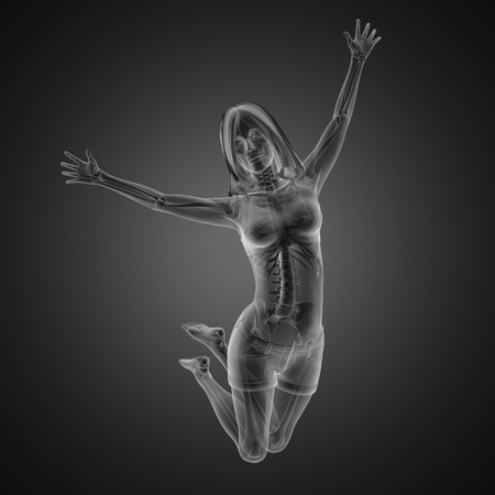jump woman radiography made in 3D Stock Photo - 12601855