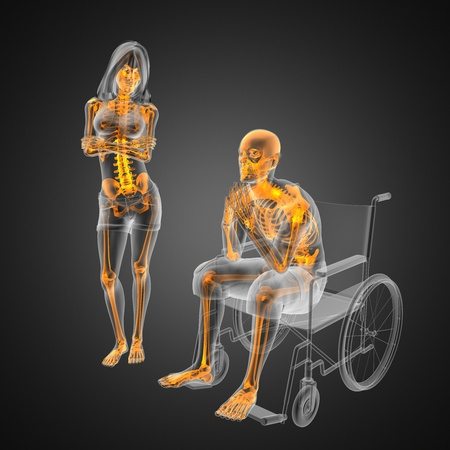 Man in wheelchair made in 3D Stock Photo - 12601851