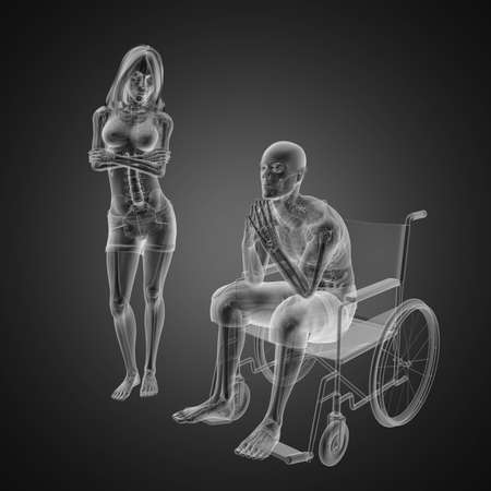 Man in wheelchair made in 3D Stock Photo - 12601848