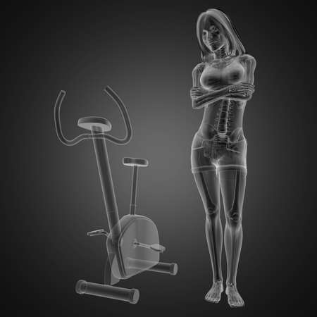 gym room: woman  radiography scan in gym room made in 3D
