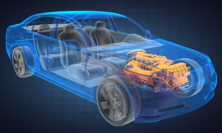 concept car trasparente realizzato in grafica 3D Archivio Fotografico