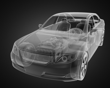 transparent car concept made in 3D graphics photo