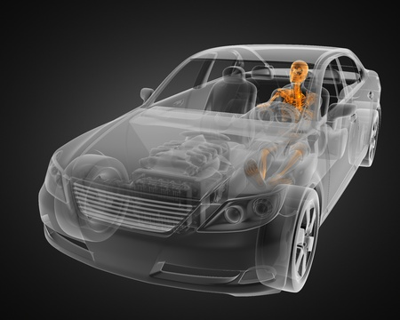transparent car concept with driver made in 3D photo